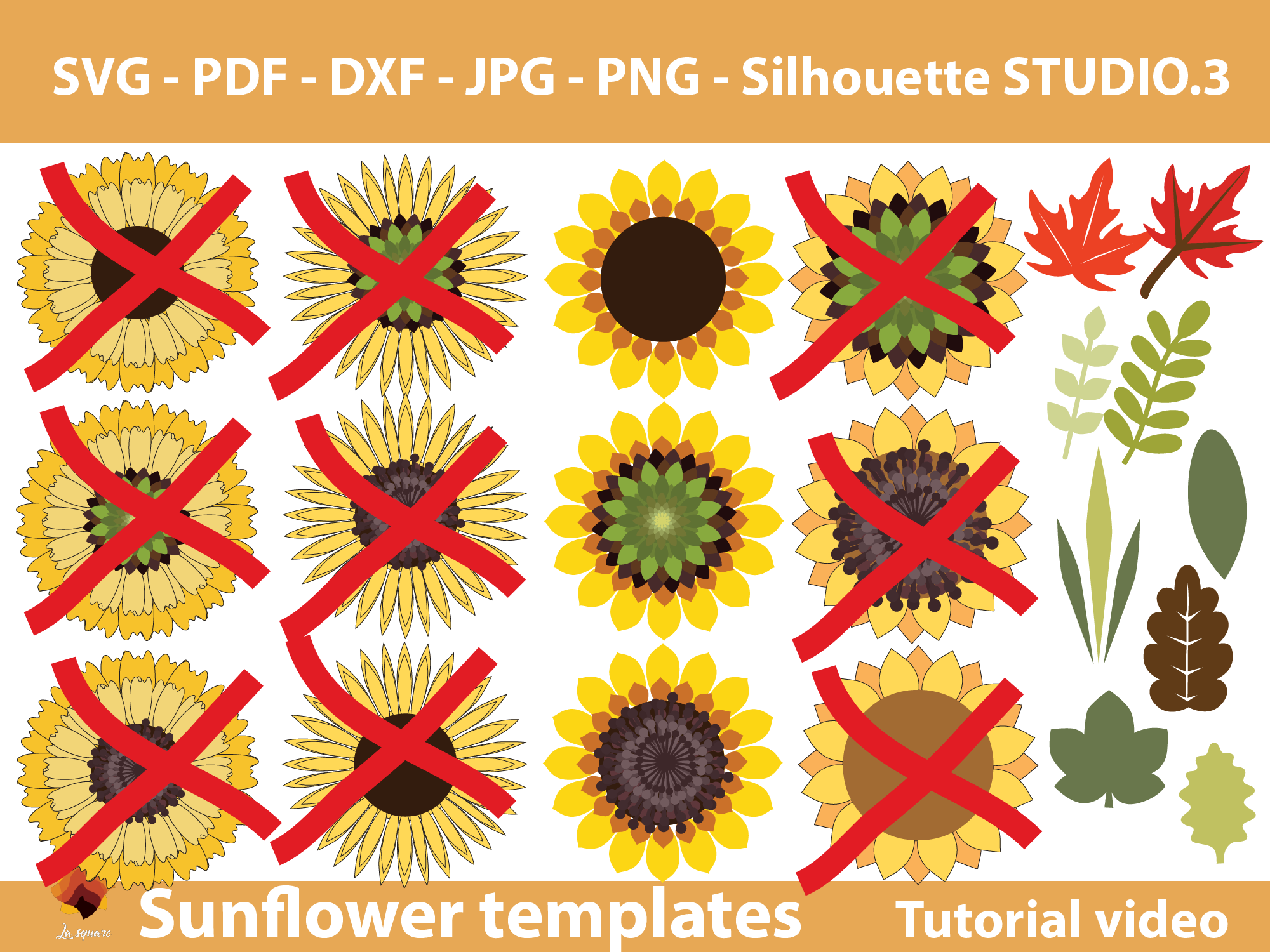 Download Free Single Sunflower Template Graphic By Lasquare Info Creative for Cricut Explore, Silhouette and other cutting machines.