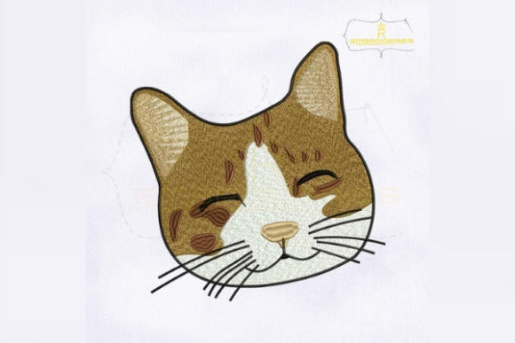 Smiling Cat Face Cats Embroidery Design By RoyalEmbroideries