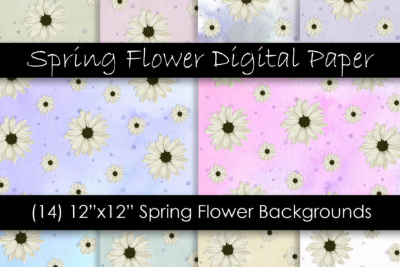 Spring Flower Digital Paper Graphic Patterns By GJSArt