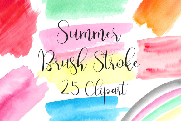 Summer Watercolor Brush Stroke Clip Art Graphic Backgrounds By PinkPearly