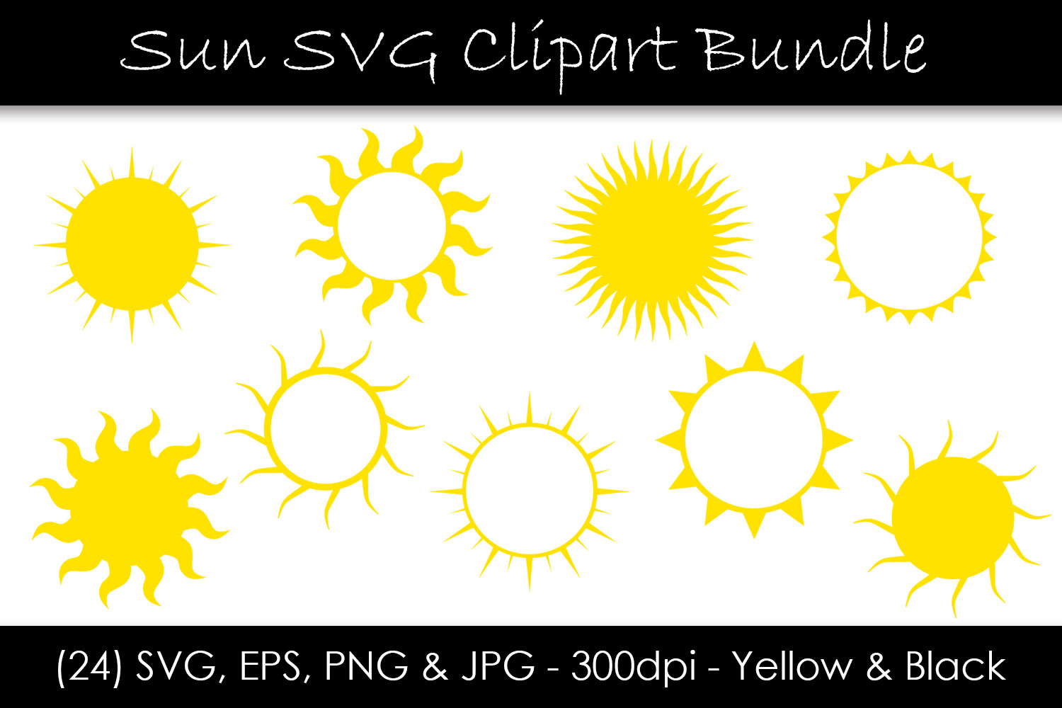 Download Free Sun Bundle Sun Shape Clip Art Graphic By Gjsart Creative Fabrica for Cricut Explore, Silhouette and other cutting machines.