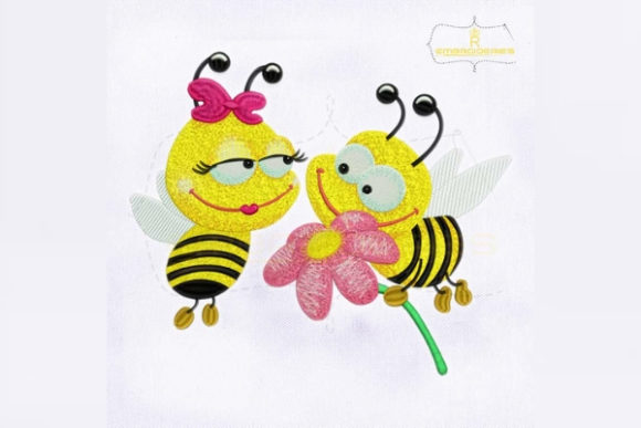 Sweet Honey Bee Love Bugs & Insects Embroidery Design By RoyalEmbroideries - Image 1