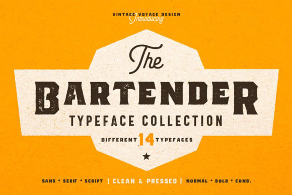 Print on Demand: The Bartender Collection Sans Serif Font By vintagevoyageco