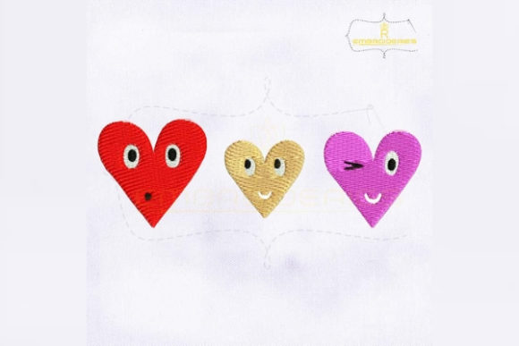 Three Hearts Emoji Valentine's Day Embroidery Design By RoyalEmbroideries