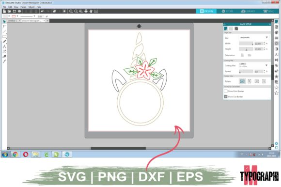 Download Free Unicorn Monogram Circle Letters Graphic By Typography Morozyuk for Cricut Explore, Silhouette and other cutting machines.