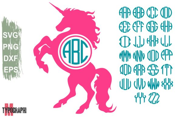 Unicorn Monogram Circle Monogram Letters Graphic By Typography