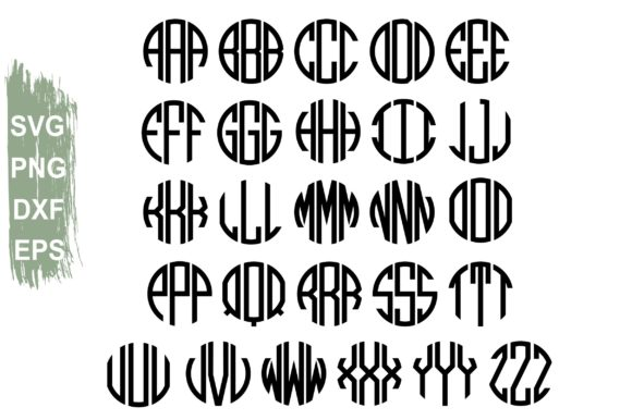 Download Free Unicorn Monogram Circle Monogram Letters Graphic By Typography for Cricut Explore, Silhouette and other cutting machines.