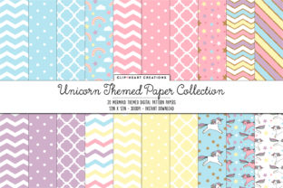 Unicorn Digital Paper Pack Graphic Backgrounds By clipheartcreations