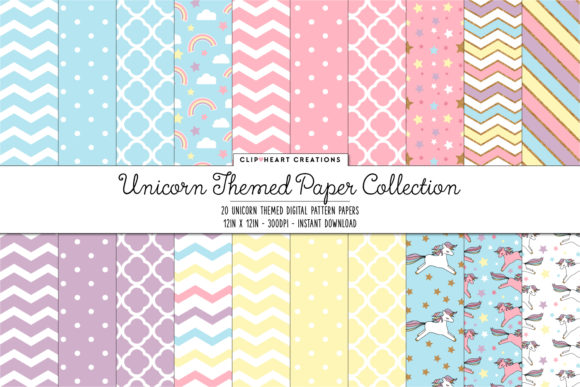 Download Free Unicorn Digital Paper Pack Graphic By Clipheartcreations for Cricut Explore, Silhouette and other cutting machines.