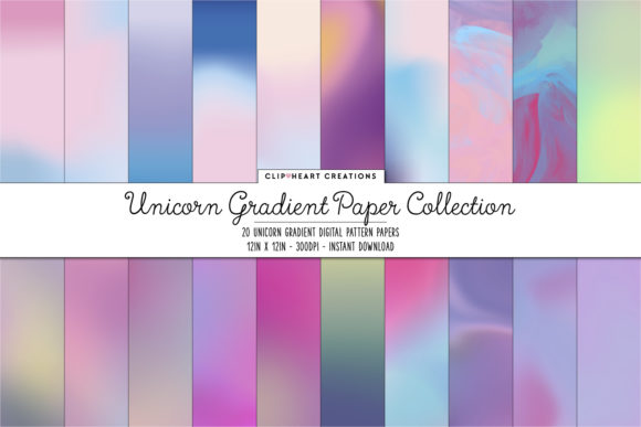 Unicorn Gradient Paper Pack Graphic Backgrounds By clipheartcreations