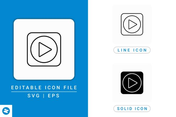 Download Free Video Play Icons Set Graphic By Zenorman03 Creative Fabrica for Cricut Explore, Silhouette and other cutting machines.