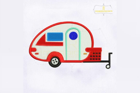 Vintage Camper Camping & Fishing Embroidery Design By RoyalEmbroideries