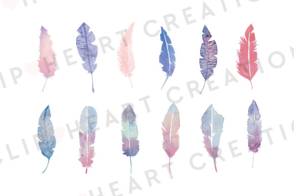 Watercolor Pink Feather Clipart Graphic Illustrations By clipheartcreations - Image 3