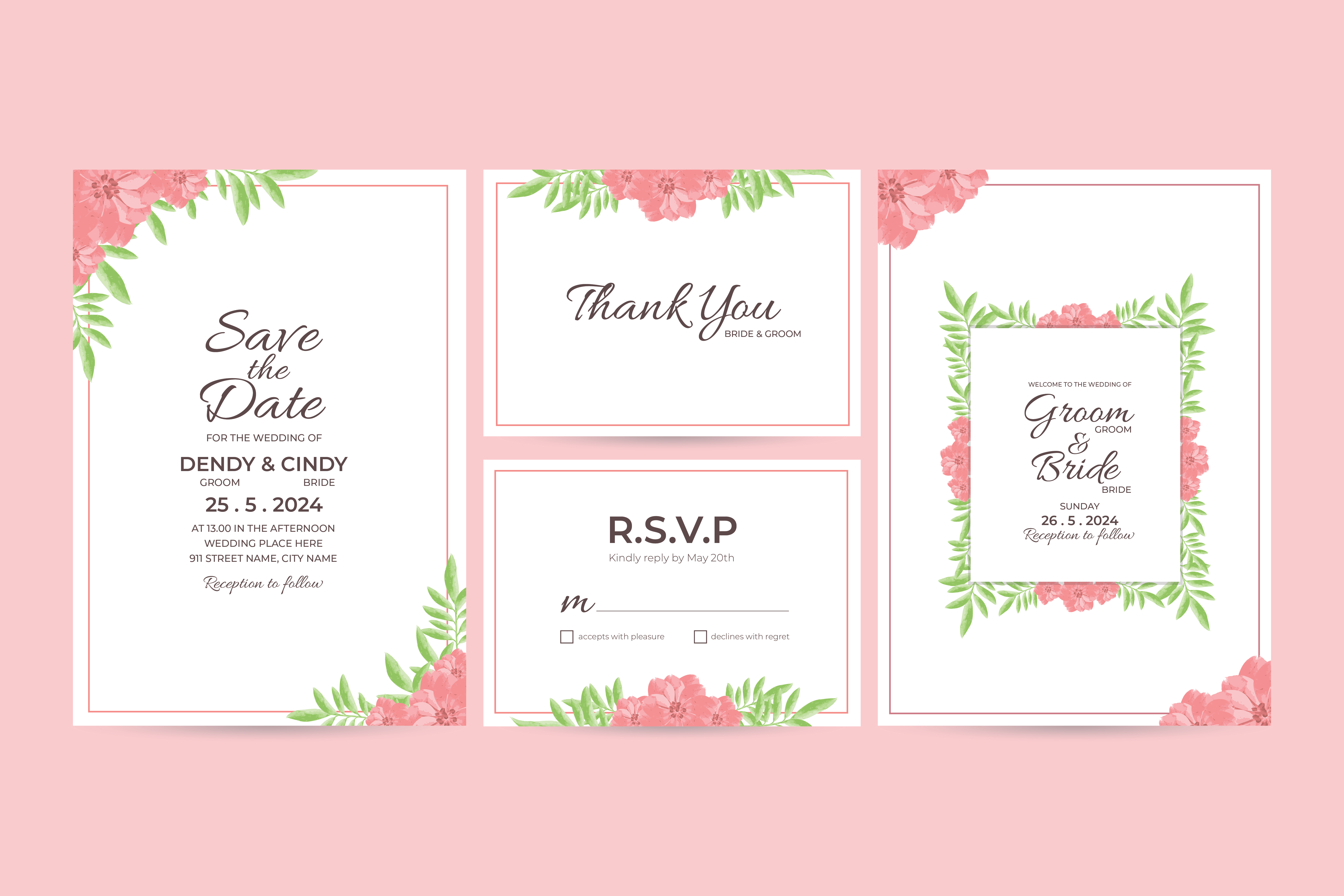 Download Free Watercolor Wedding Invitation Template Graphic By Dendysign SVG Cut Files