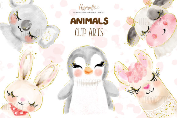 Download Free Watercolor Animals Illustration Graphic By Hippogifts Creative for Cricut Explore, Silhouette and other cutting machines.