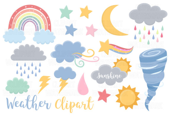 Weather, Rainbows and Clouds Clipart Graphic Illustrations By magreenhouse