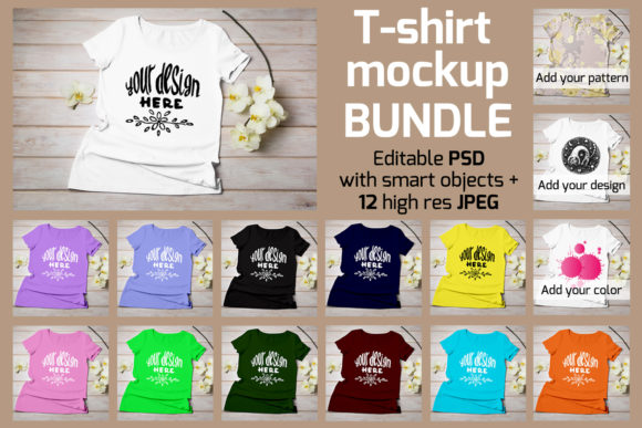 Print on Demand: Women's T-shirt Mockup Graphic Product Mockups By TasiPas - Image 1