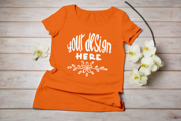 Print on Demand: Women's T-shirt Mockup Graphic Product Mockups By TasiPas - Image 14
