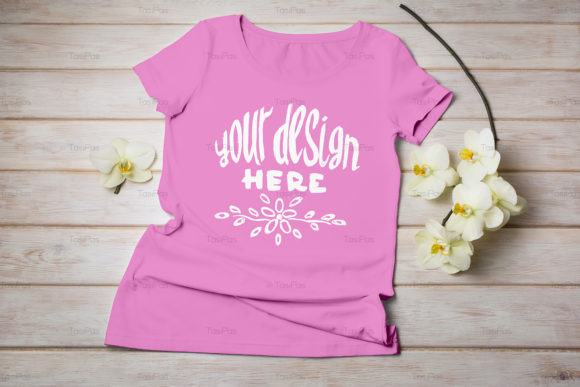 Print on Demand: Women's T-shirt Mockup Graphic Product Mockups By TasiPas - Image 15