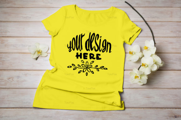 Print on Demand: Women's T-shirt Mockup Graphic Product Mockups By TasiPas - Image 17