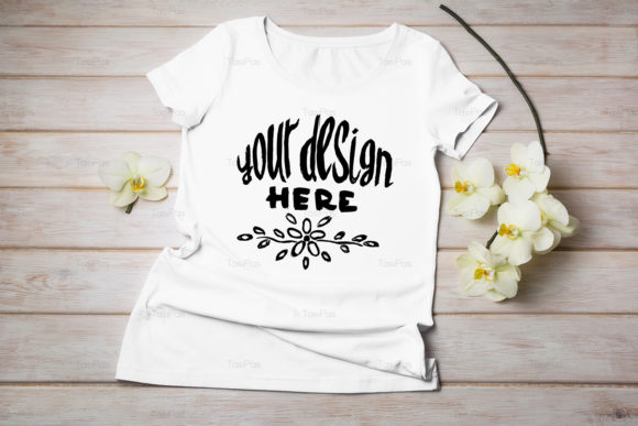 Print on Demand: Women's T-shirt Mockup Graphic Product Mockups By TasiPas - Image 6