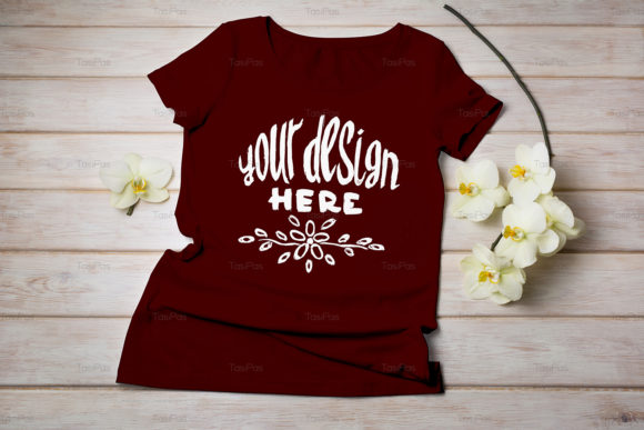Print on Demand: Women's T-shirt Mockup Graphic Product Mockups By TasiPas - Image 8