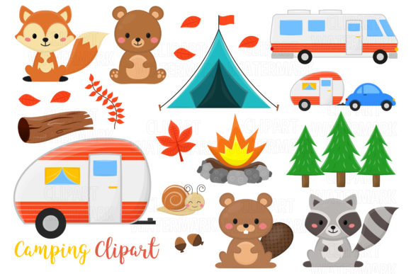 Woodland Animals and Camping Clipart Graphic