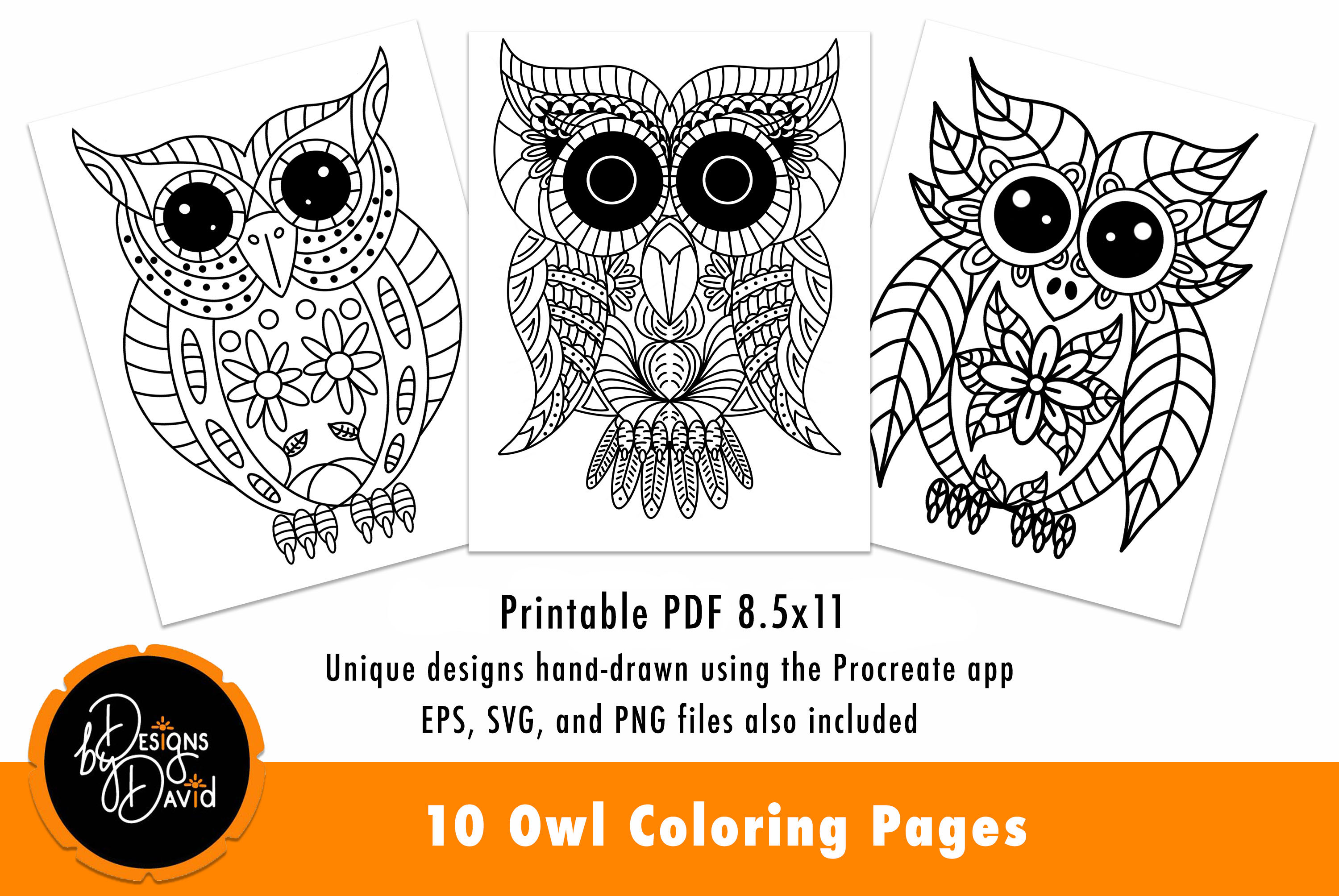 Download Free 10 Owl Coloring Pages Hand Drawn Graphic By Designs By David for Cricut Explore, Silhouette and other cutting machines.