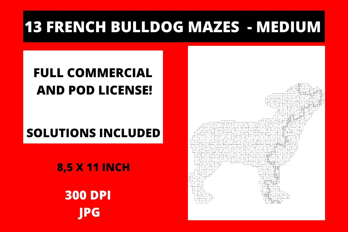 Download Free 13 French Bulldog Mazes Medium Graphic By Fleur De Tango for Cricut Explore, Silhouette and other cutting machines.