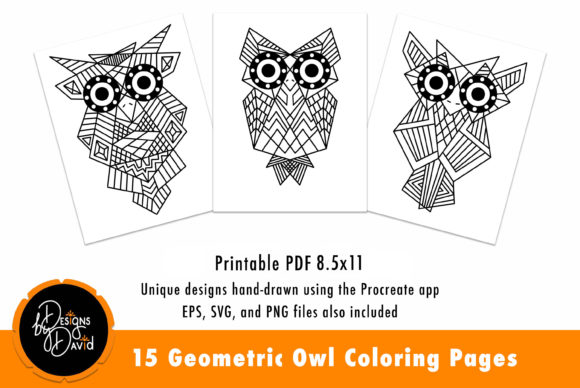 Download Free 15 Geometric Owl Coloring Pages Graphic By Designs By David for Cricut Explore, Silhouette and other cutting machines.