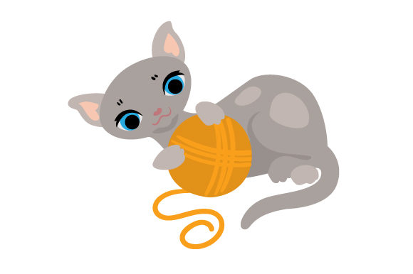 Cat Playing With Yarn Svg Cut File By Creative Fabrica Crafts