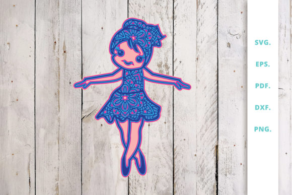 Download Free 3d Cute Ballerina Out Of Mandala V6 Graphic By Sintegra for Cricut Explore, Silhouette and other cutting machines.