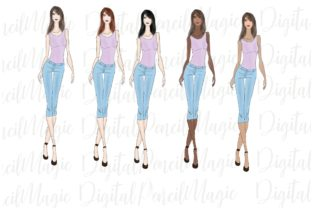 Print on Demand: 5 Fashion Girls. Clipart Graphic Illustrations By Creative Magica