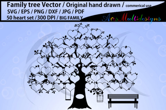 Download Free 50 Heart Family Tree 50 Spots Graphic By Arcs Multidesigns for Cricut Explore, Silhouette and other cutting machines.