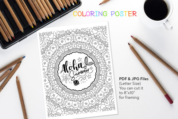 Aloha Summer - Coloring Page Graphic Coloring Pages & Books Adults By danieladoychinovashop
