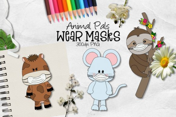 Download Free Animal Pals Wear Masks Clipart Graphic By Arda Designs for Cricut Explore, Silhouette and other cutting machines.