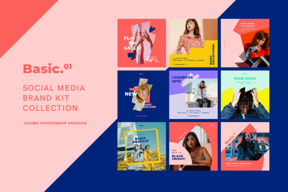 Basic - Social Media Kit Collection Graphic Web Elements By invasistudio