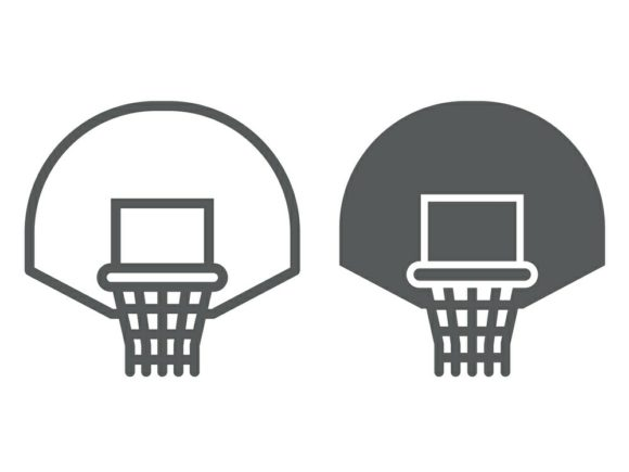 Download Free Basketball Hoop Line And Glyph Icon Graphic By Anrasoft for Cricut Explore, Silhouette and other cutting machines.