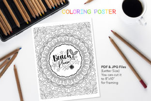 Beach Please - Anti-Stress Quote Graphic Coloring Pages & Books Adults By danieladoychinovashop