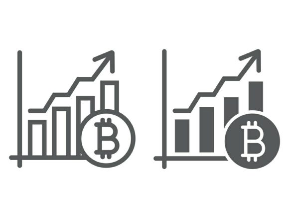 Download Free Bitcoin Chart Line And Glyph Icon Graphic By Anrasoft Creative Fabrica for Cricut Explore, Silhouette and other cutting machines.