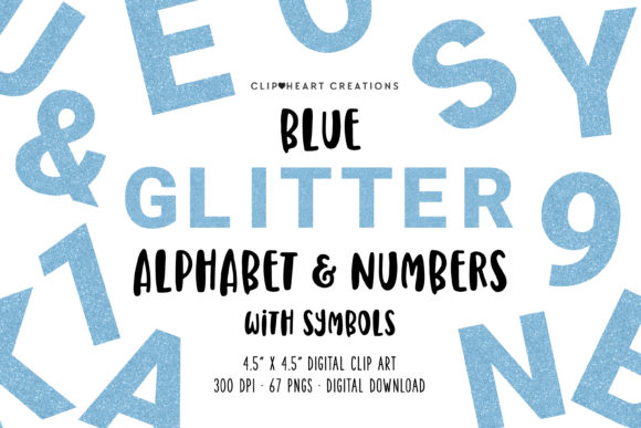Blue Glitter Alphabet Clipart Graphic Illustrations By clipheartcreations