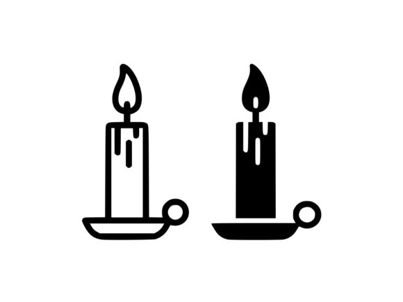 Print on Demand: Candle Line and Glyph Icon Vector Graphic Icons By anrasoft