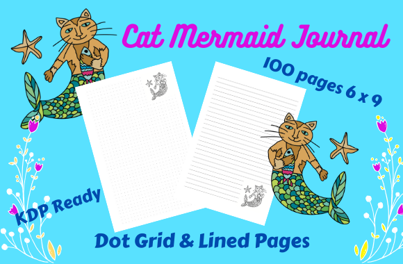 Download Free Cat Mermaid Dot Grid Lined Journal Graphic By Tuxcat Design for Cricut Explore, Silhouette and other cutting machines.