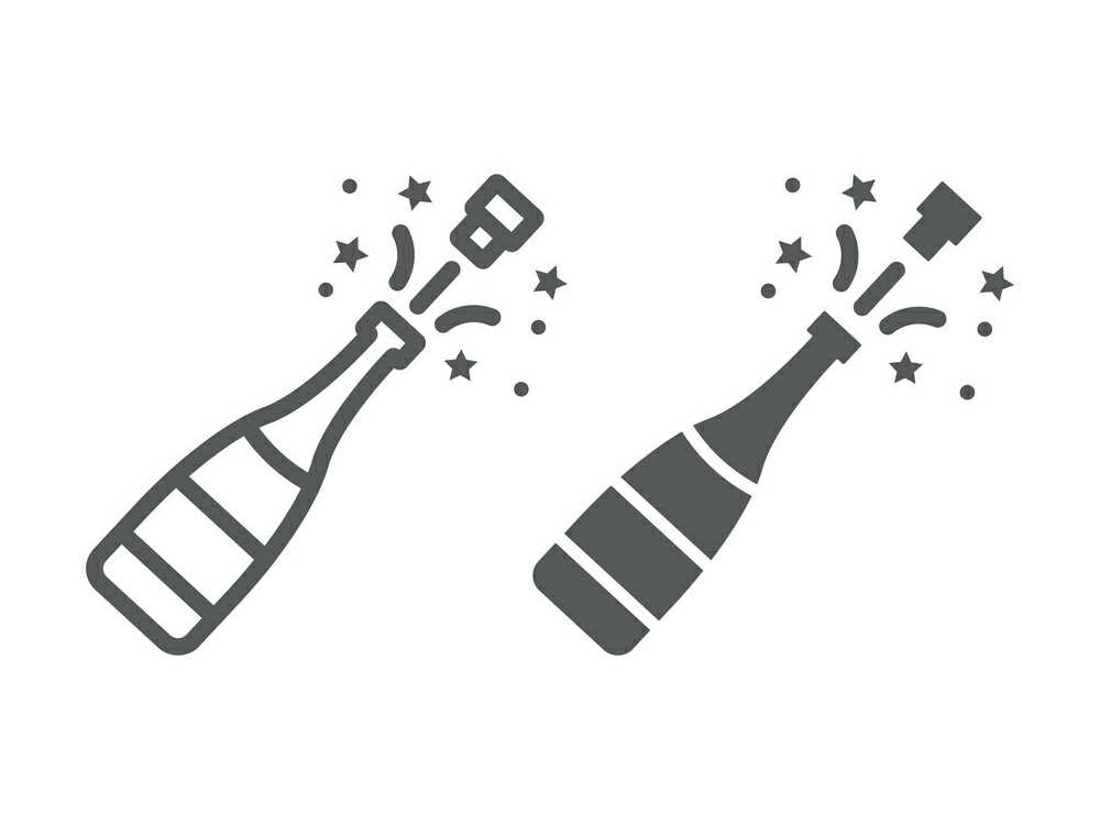 Download Free Champagne Bottle Pop Line And Glyph Icon Graphic By Anrasoft for Cricut Explore, Silhouette and other cutting machines.