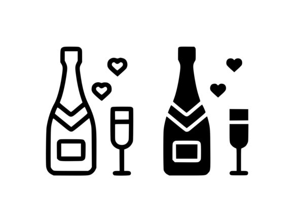 Download Free Champagne Line And Glyph Graphic By Anrasoft Creative Fabrica for Cricut Explore, Silhouette and other cutting machines.