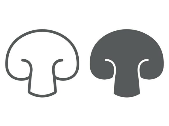 Download Free Champignon Line And Glyph Icon Graphic By Anrasoft Creative for Cricut Explore, Silhouette and other cutting machines.