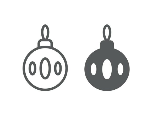 Download Free Christmas Tree Ball Line And Glyph 14 Graphic By Anrasoft SVG Cut Files