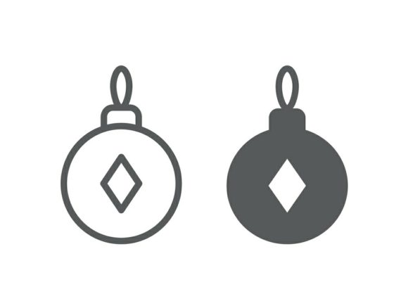 Download Free Christmas Tree Ball Line And Glyph 2 Graphic By Anrasoft for Cricut Explore, Silhouette and other cutting machines.