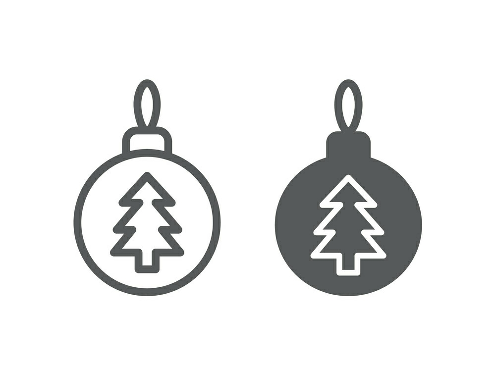 Download Free Christmas Tree Ball Line And Glyph 21 Graphic By Anrasoft for Cricut Explore, Silhouette and other cutting machines.