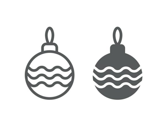 Download Free Christmas Tree Ball Line And Glyph 23 Graphic By Anrasoft for Cricut Explore, Silhouette and other cutting machines.